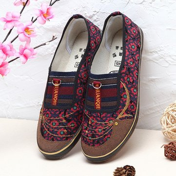Canvas Flower Slip On Casual Pattern Stripe Button Flat Loafers