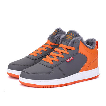 Mens High Top Plush Lining Skateboard Sneakers