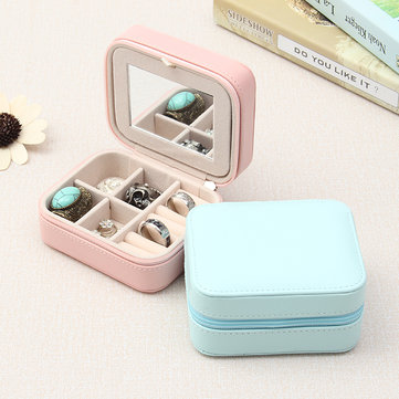 Lovely  Leather Velvet Double-Layer Jewelry Box