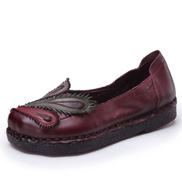 Socofy Phoenix Multi-color Leather Soft Slip On Flat Loafers