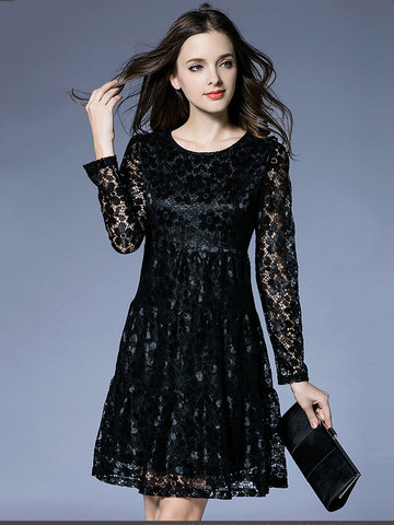 Elegant Pure Color Lace Hollow Out Long Sleeve Mini A-Line Dress For Women