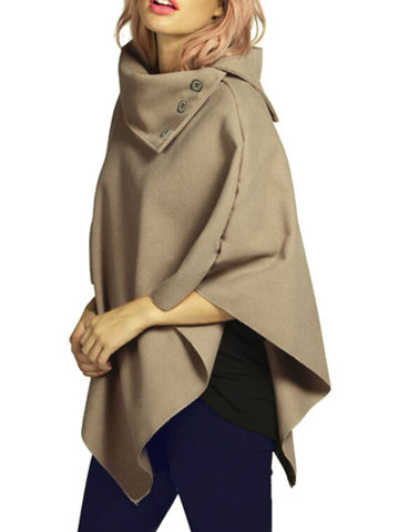 Women Button Irregular Hem Solid Turtleneck Woolen Cloak Coat от Newchic.com INT