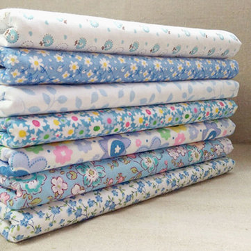 7 Pcs 25x25cm Blue&White Floral Series Square DIY Bundle For Sewing Dolls Crafts