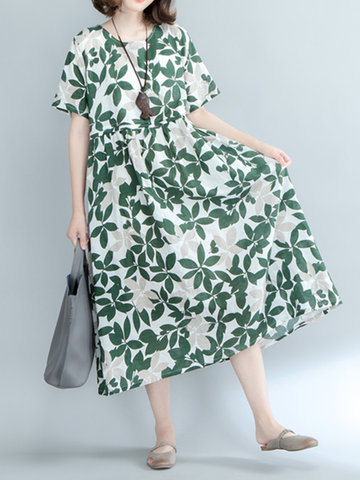 Vintage Women Floral Printed High Waist Short Sleeve Maxi Dresses