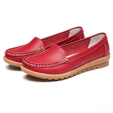 Leather Pure Color Flat Soft Sole Breathable Slip On Loafers от Newchic.com INT