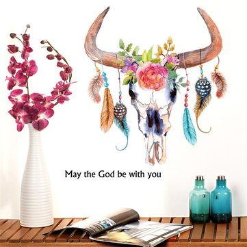 Buy 3D New Carative Feather Flower Leaf Ox Horn Wall Stickers Home Decal