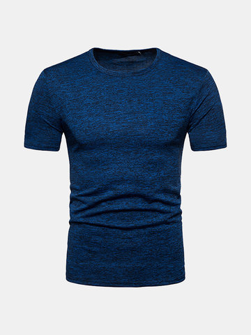 Solid Color Slim Fit Basic Casual T Shirt SKU906329