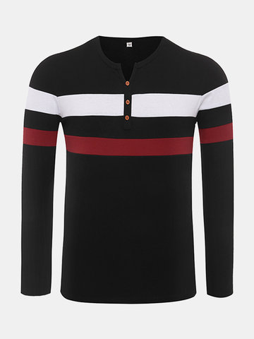 Mens Stripe Printed Buttons Cotton Tops Long Sleeve O-neck Casual T-shirt