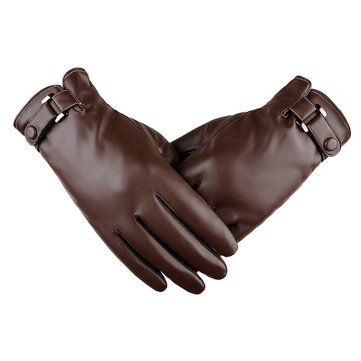 Men PU Leather Thick Winter Warm Gloves Outdoor Driving Windproof  Screen Touch Mittens SKU723133