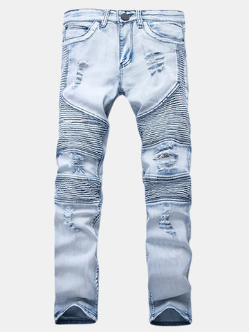 Newchic UK Motorcycle Vintange Wolf Printing Folds High Elastic Slim Ripped Jeans for Men