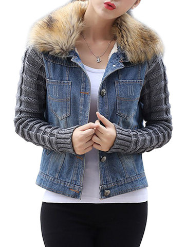Buy Casual Women Short Slim Thick detachable Fur Collar Patchwork Knitted Denim Coat