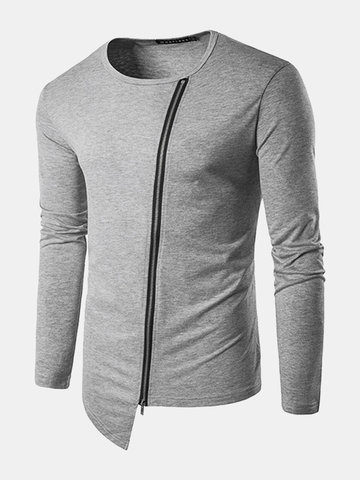 Mens Personalized Street Style Irregularly Inclined Zipper O-neck Long Sleeve Casual T-shirt SKU632449
