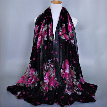 Women Lady Peony Flower Printing Long Soft Wrap Lady Shawl Voile Scarf Scarves