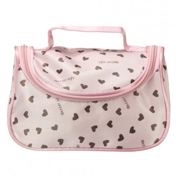 Pink Cosmetic Bag Heart Patterns Zipper Makeup Bag Storage Hand Case