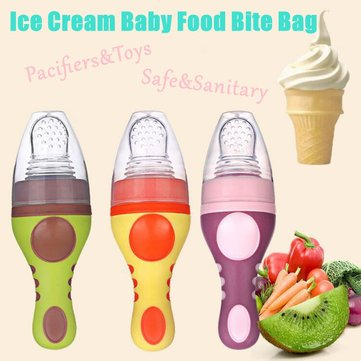 Baby Infant Silicone Pacifier Food Bite Bag Toddler Food Supplement Feeding Bag Safe Nipple Soother