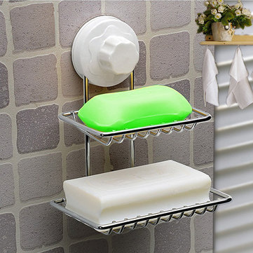 Stainless Steel Kitchen Bathroom Removable Strong Suction Cup Soap 2 Holder Shelf SKU190093