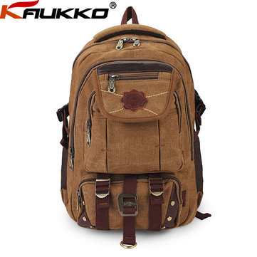 Buy KAUKKO Men Canvas Outdoor Travel Backpack Zipper Luggage Bag