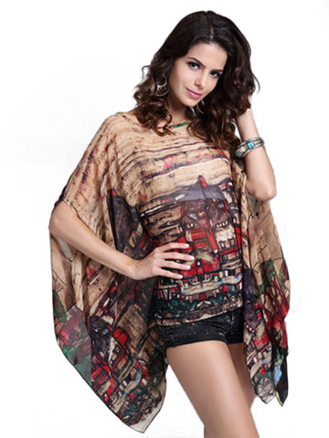 Brief Batwing Sleeves Printed Chiffon Tops For Women