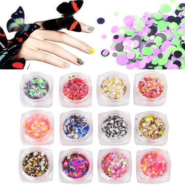 12 Bottles Mixed Colored Nail Art Glitter Sequins Candy Color Round Diy Decoration