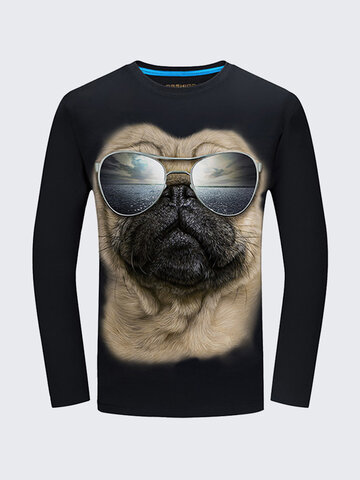 Plug Size Mens Fashion Unique 3d Pug Sunglasses Printing Casual Cotton Long Sleeve T-shirts