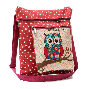 Linen Cartoon Casual Owl Pattern Shoulder Bag Crossbody Bags