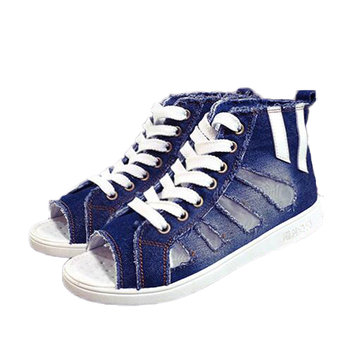 Fish Mouth Hollow Out Peep Toe Lace Up High Top Casual Shoes For Women