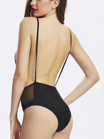 Women Sexy Backless One Piece Bikini Back Hollow Out Spaghetti Strap Swimsuit