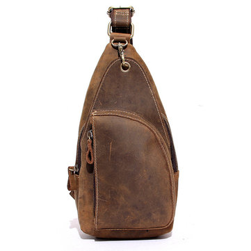 Buy Mans Chest Bags Cowhide Leather Scrub Crossbody Frame Leisure Messenger Sling