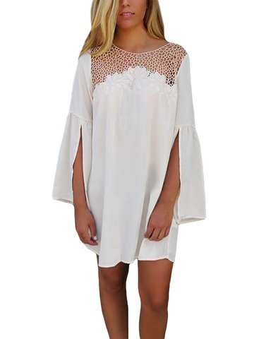 Women Lace Patchwork Embroidery Loose Split Sleeve Solid Chiffon Dress от Newchic.com INT