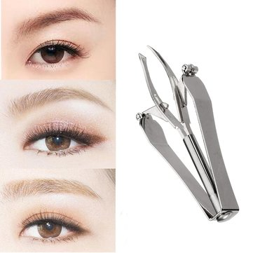 Stainless Steel Automatic Retractable Eyebrow Tweezer Beauty Shaping Tool