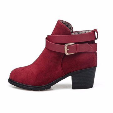 Buy Buckle Ankle Low Heel Slip Martin Chunky Boots