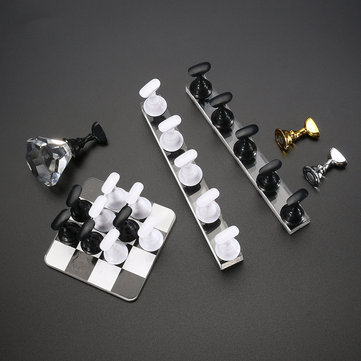 Chess Nail Tips Holder Display Practice Manicure Salon Tool Black White Magnetic Base