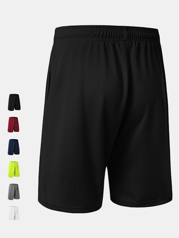 Mens Training Loose Fit Breathable Quick-drying Drawstring Solid Color Basketball Sports Shorts
