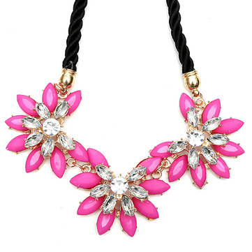 Crystal Flower Chunky Rhinestone Choker Statement Necklace
