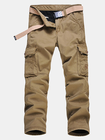 Mens Winter Thick Warm Cargo Pants Polar Fleece Lined Soild Color Big Pocket Casual Trouser
