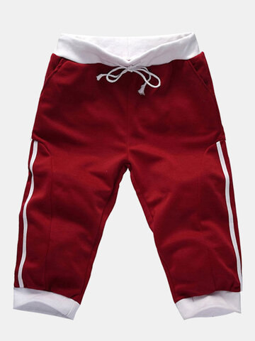 Mens Casual Running Drawstring Overknee Slim Fit Sports Cotton Pants