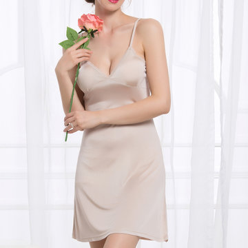 Sexy V Neck Mulberry Silk Nightdress Spaghetti Strap Comfortable Pajamas