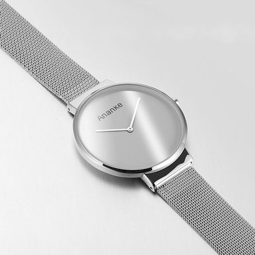 ANANKE Ultra Thin Minimalist Silver Watch