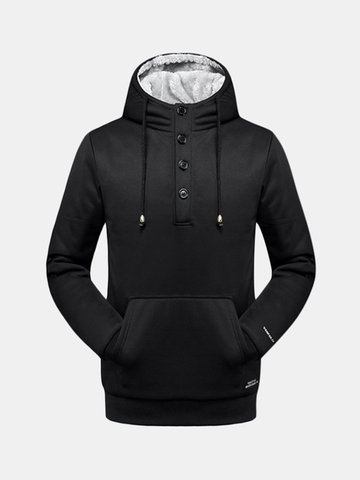 Mens Outdoor Sport Winter Fleece Lined Hoodies Thick Warm Solid Color Hooded Tops