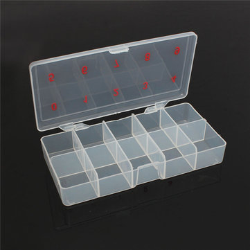 DANCINGNAIL Transparent Plastic Empty Nail Art Tips Storage Box Rhinestone Beads Gem Case