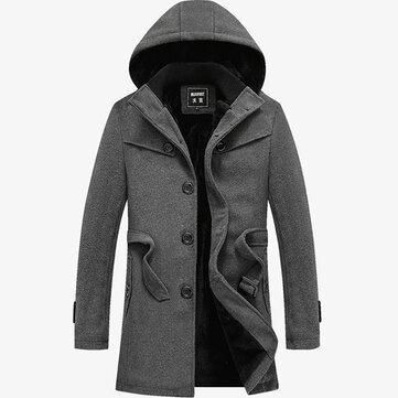 Mens Winter Thick Velvet Single-breasted Trench Coat Hooded Woolen Blended Overcoat