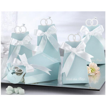 10pcs Blue Diamond Ring Style Paper Wedding Candy Boxes Wedding Supplies
