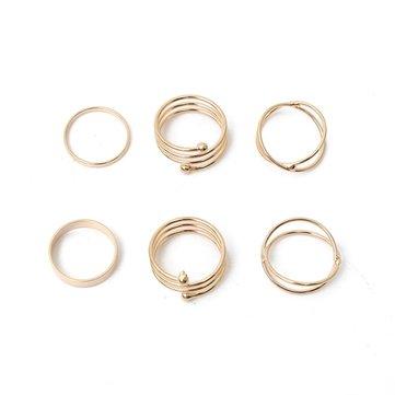 6pcs Punk Cross Spiral Knuckle Rings