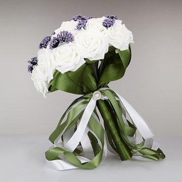 Buy Pure White Bride Holding Flowers Bouquet Purple Starry Creative