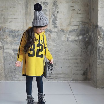 Clothing|Children|Girls Printed Kids Girls Long Sleeved Hoodies Dresses