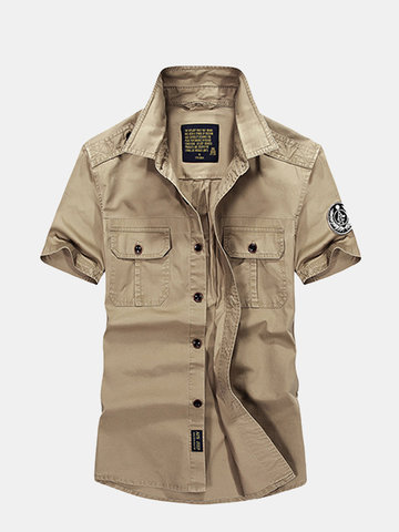 Newchic AFSJEEP Outdoor Casual Cotton Short Sleeve Double Chest Pockets Dress Shirts for Men