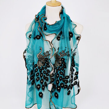 Peacock Pattern Lace Gold Foil Scarves