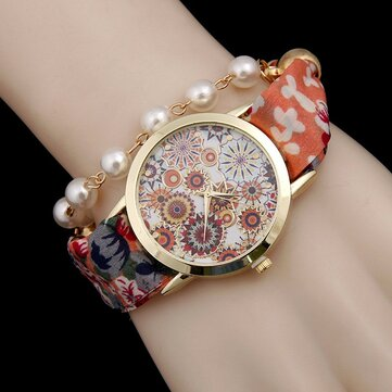 Bohemian Fabric Band Pearl Bracelet Watch