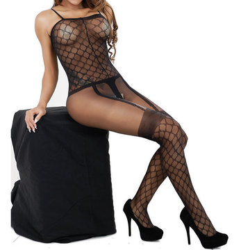 Sexy Perspective Plaid Open Crotch Temptation Bodystocking For Women