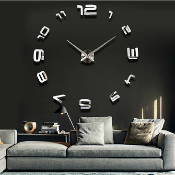 Buy 3D Large Sliver Modern DIY Home Decor Mirror Wall Clock Sticker